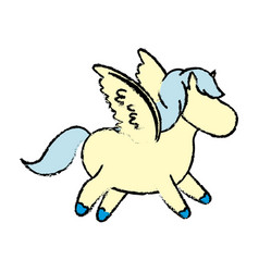 cute cartoon little funny running horse beautiful vector image