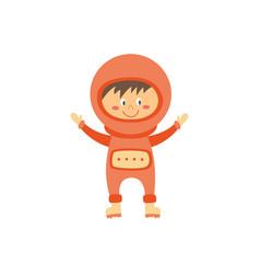 cute child astronaut or space traveler cartoon vector image