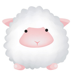 cute sheep isolated on white background farm vector image