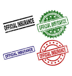 Damaged textured official insurance seal stamps vector