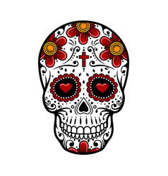 Day dead skull sugar flower tattoo vector