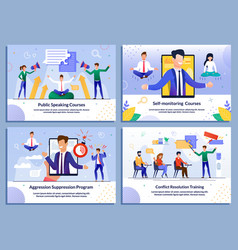 E-learning online education for businesspeople set vector