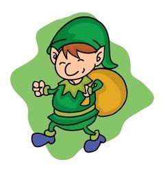 Elf helper with gift bag cartoon vector image