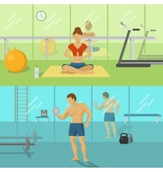 Fitness for men and women compositions vector