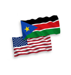 Flags republic south sudan and america on a vector