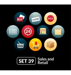 Flat icons set 39 - sales and retail collection vector