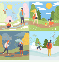 four seasons set winter spring summer and vector image