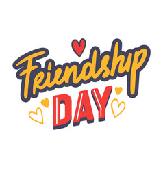 Friendship day typography with doodle drawings vector