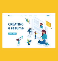 Girl makes a resume aspirant job seeker concept vector
