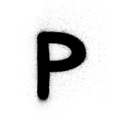 Graffiti russian cyrillic r font sprayed in black vector