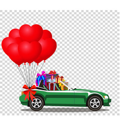 Green car full of gifts and bunch of red balloons vector