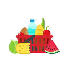 Grocery food shopping basket vector