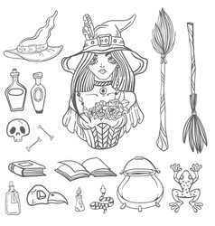 Halloween set with beautiful witch and witchcraft vector