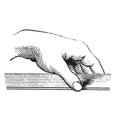 hand holding a board vintage engraving vector image