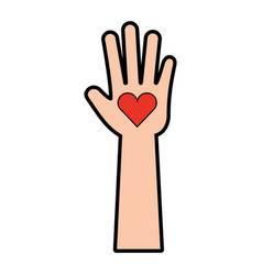 Hand human with heart vector