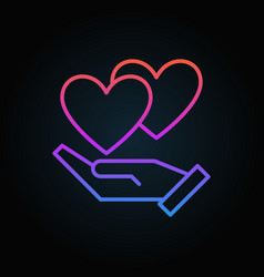 hand with hearts colored icon in thin line vector image