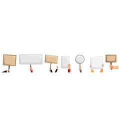 hands holding placards isolated activist person vector image