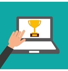 Hands holds laptop-trophy online education vector