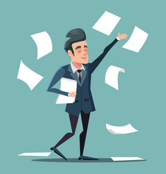 Happy businessman throwing papers at the office vector