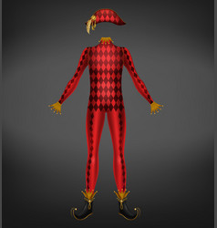 harlequin costume isolated on black background vector image