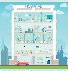 hospital building exterior with doctor and vector image