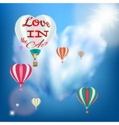 Hot air balloon in a heart shape EPS 10 vector image