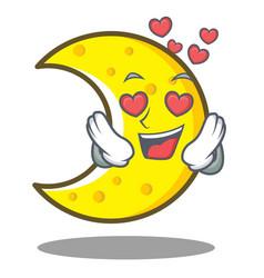 In love crescent moon character cartoon vector