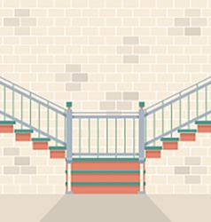 Interior Bricks Wall With Stairs vector