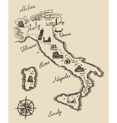 Italian old map sketch vector