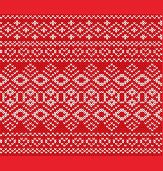 Knitted jumper winter ornament design knitted red vector
