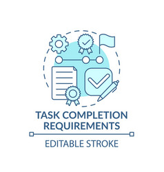 Learning task completion requirements concept icon vector