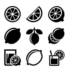Lemon and Lime Icons Set vector image