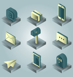 mail color gradient isometric icons vector image