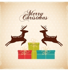 Merry christmas reindeer decoration card vector