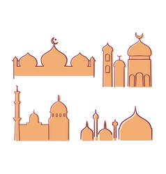 Muslim mosque line hand drawn set vector