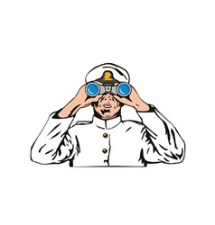 Navy Captain Sailor With Binoculars vector image
