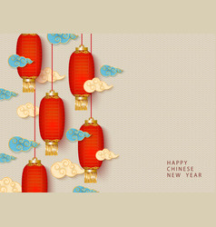 new year background design with chinese lanterns vector image