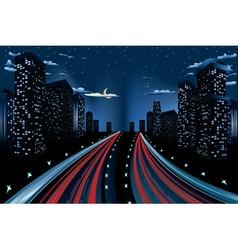 Night City Road Panorama vector image