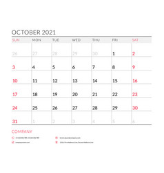 October 2021 monthly calendar planner printable vector
