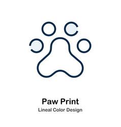 Paw print line color icon vector