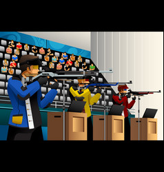 people shooting with rifle at a target in the vector image