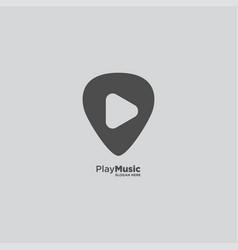 Pin music logo design template vector