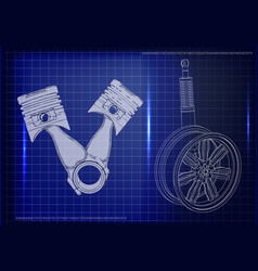 pistons and wheel with shock absorber on a blue vector image