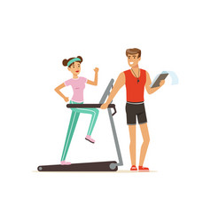 Professional fitness coach and young woman running vector