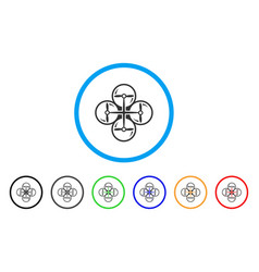 Quad copter rounded icon vector