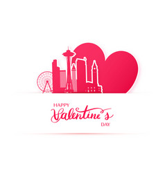 Red heart and silhouette of seattle city paper vector