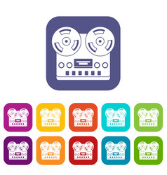 Retro tape recorder icons set flat vector