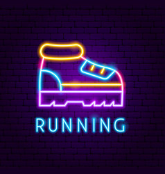 running neon label vector image
