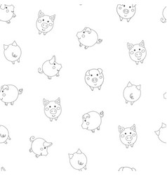 Seamless pattern with cute cartoon small contour vector
