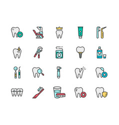 set dentistry flat color line icons denture vector image